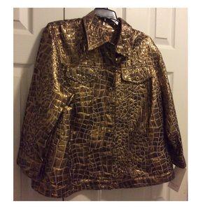 New~ Ruby Gold Metallic Jacket